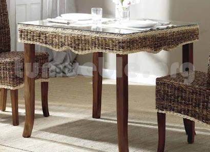 mesa comedor hecho en teca y rattan natural j983