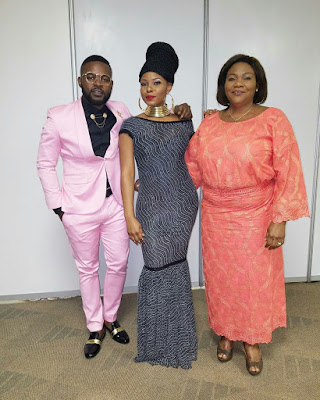 Yemi Alade with Falz and mother