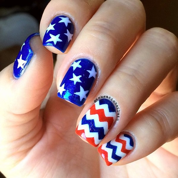 4th of july patriotic nail design easy fourth of july nail art patriotic 4th of july nail art design 2017 prinsesfo Choice Image