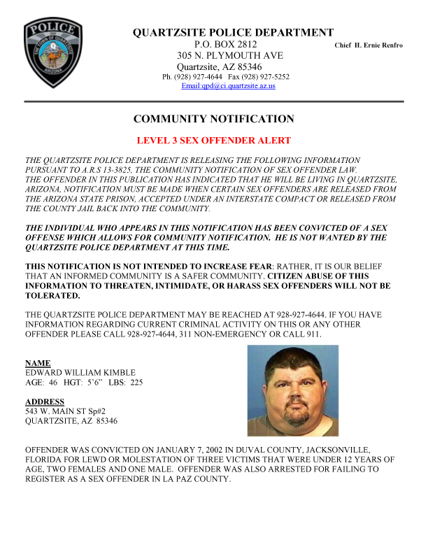 Sex offender notification email