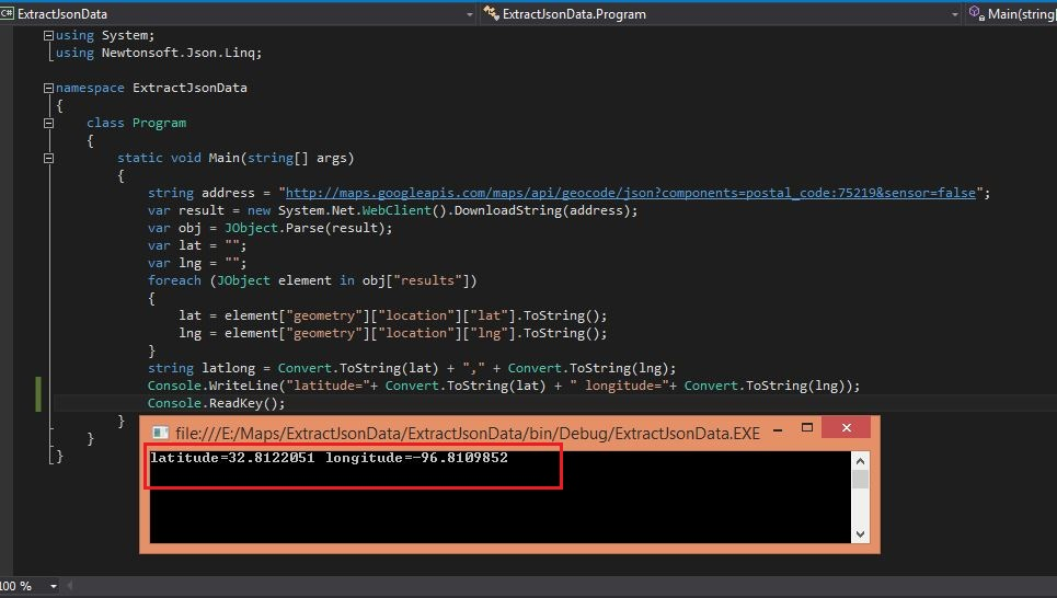 C#: How to Extract Json Data using C# code in Microsoft Visual
