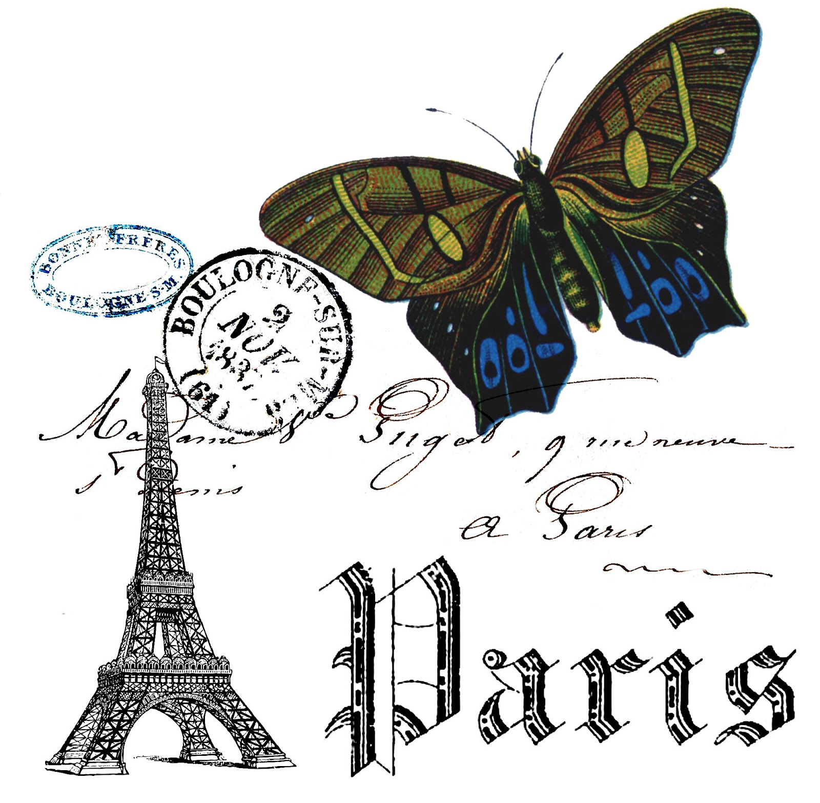 Paris And Butterfly Collage Free Printable The Cottage