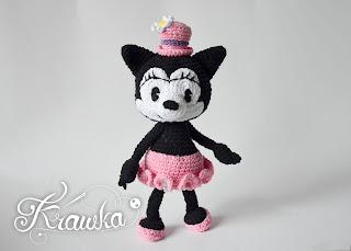 Krawka: Vintage Ortensia the cat crochet pattern by Krawka, Oswald Lucky Rabbit, Minnie Mouse Disney Mickey Mouse