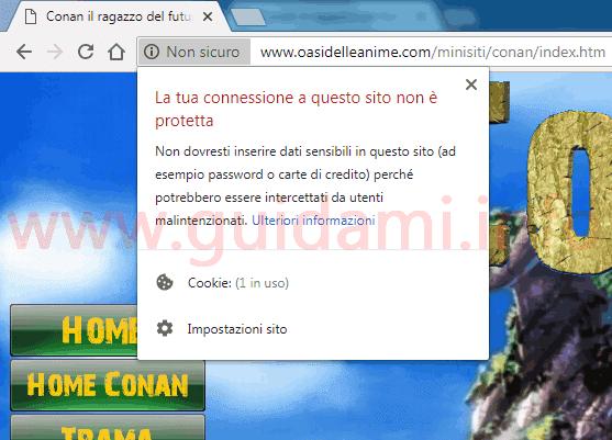 Google Chrome 68 sigla sito Non sicuro e popup informazioni