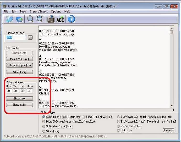 Aplikasi Subtitle Editor (Film) Edit Waktu Di subtitle