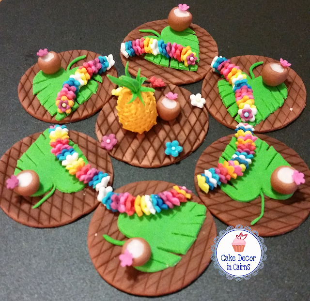 Luau Themed Fondant Cupcake Toppers Flower Leis, coconut, pineapple,