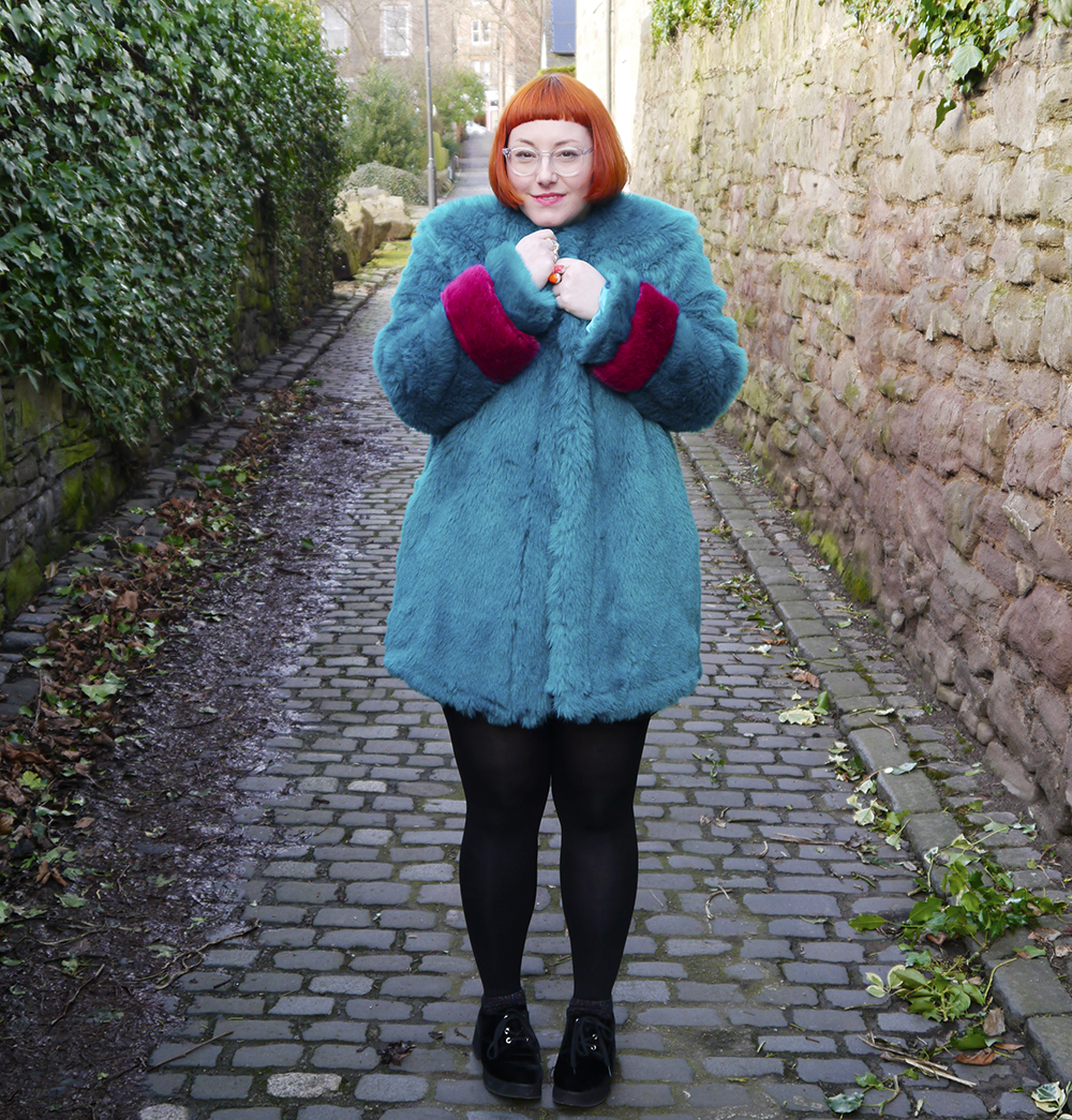 Isolated Heroes, Styled by Helen, Dundee designer, Scottish designer, Scottish blogger, Independent designer, street style, sequined outfit, Faux Fur Coat, colourful faux fur coat