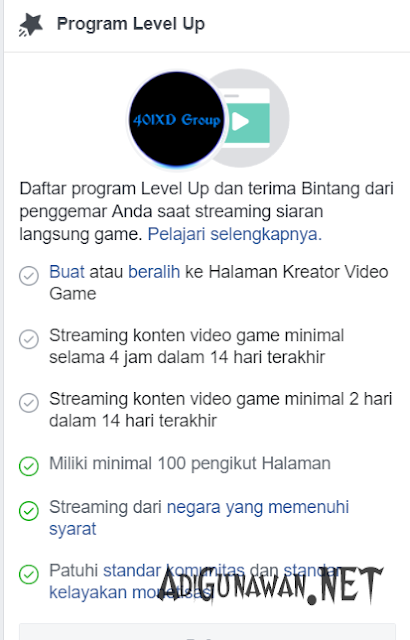 Kelayakan Facebook Gaming Creator