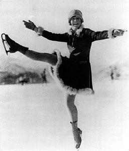 Sonja Henie, known as the 'Queen of Ice'.