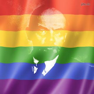 Image of Lenin and rainbow flag