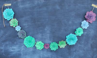 Succulent Paper Garland, succulent wedding decoration, paper succulent, succulent wedding, flower garland, succulent wedding flowers blue green teal turquoise purple