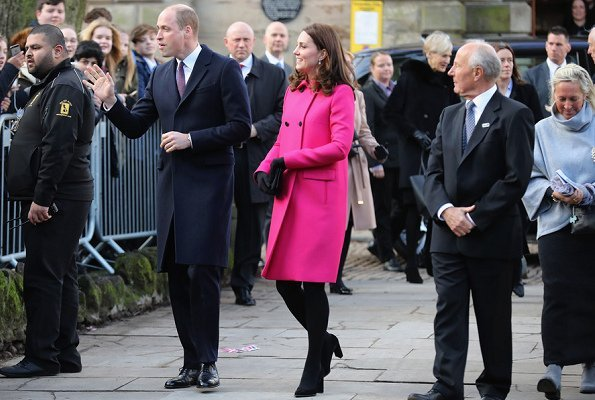 Catherine, Duchess of Cambridge wore Mulberry Double Breasted Coat. Positive Youth Foundation and Coventry University