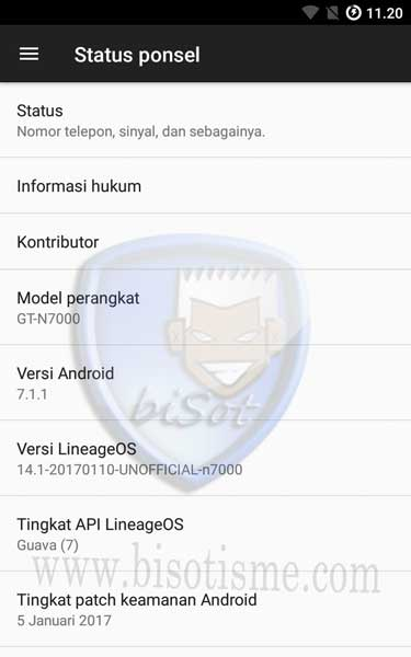 Upgrade Galaxy Note 1 N7000 ke Android 7 Nougat