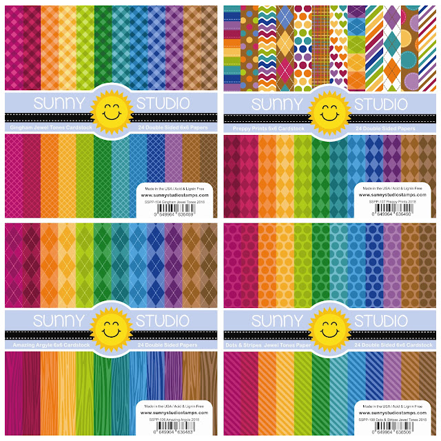 Sunny Studio Stamps: Gingham Jewel Tones, Preppy Prints, Amazing Argyle and Dots & Stripes 6x6 Patterned Paper Packs