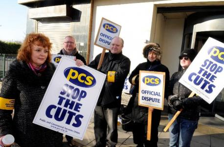 Geraldine Cole and Picket line outside Bolton DWP office.