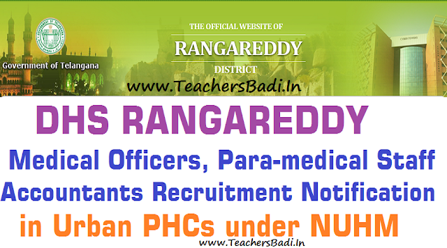 Rangareddy Medical Officer,ANM,Staff Nurse,Pharmacist,Lab Technician,Accountant Posts 2016