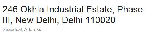 Snapdeal Delhi Address