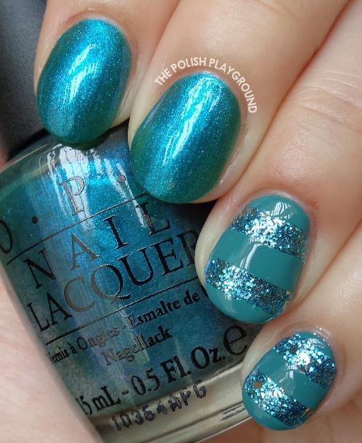Blue Glitter Stripes Nail Art