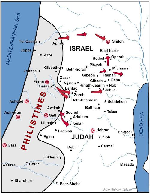 Mapa da Filistéia e das invasões sofridas por Israel.