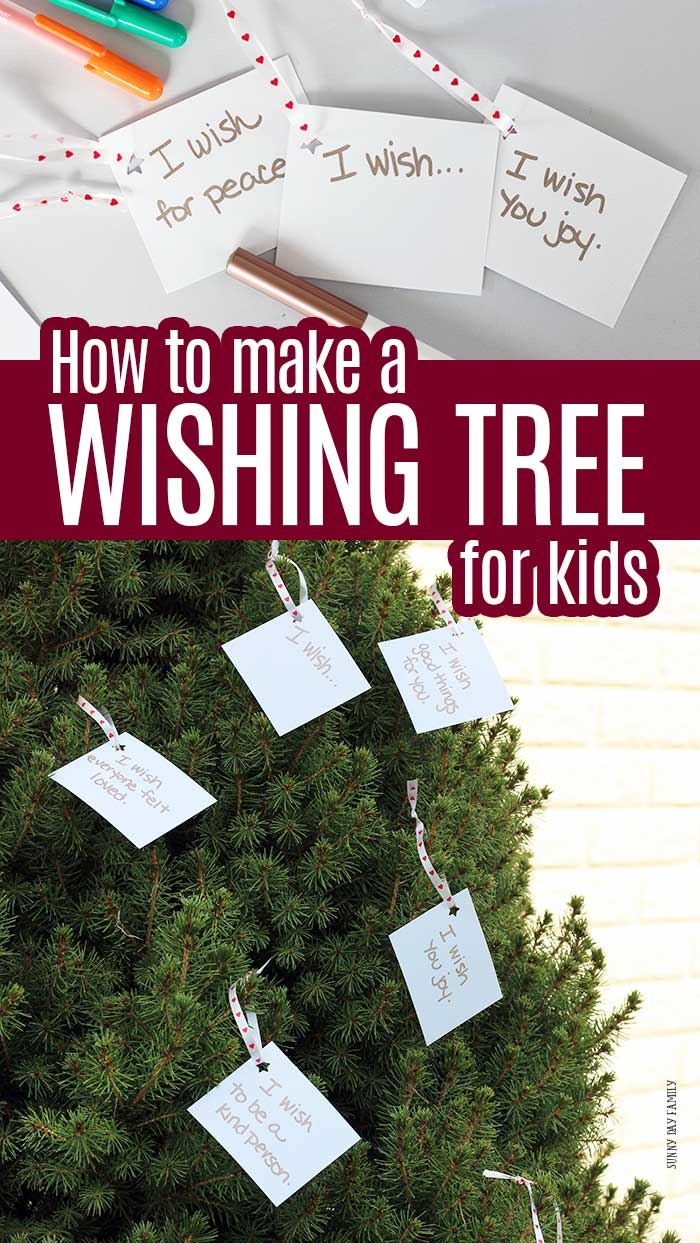 Make a wishing tree for your family! Inspired by Wishtree, this month's Family Dinner Book Club activity is about respect and inclusion, and a wish tree is the perfect fit. Makes a great community service project or a random act of kindness idea for kids. #familydinnerbookclub #serviceproject #wishtree #randomactofkindness