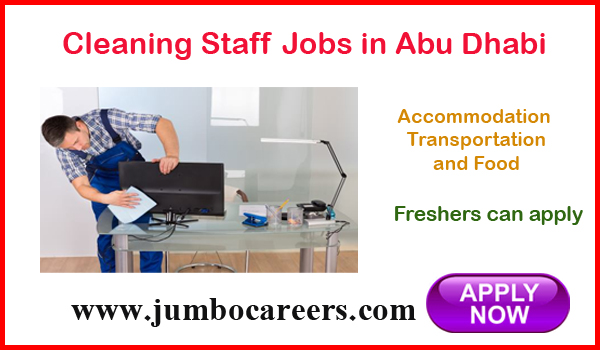 Abu Dahbi cleaning jobs for Indians, UAe freshers jobs with benefits,