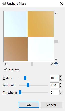 Pengaturan filter Unsharp Mask untuk menajamkan gambar