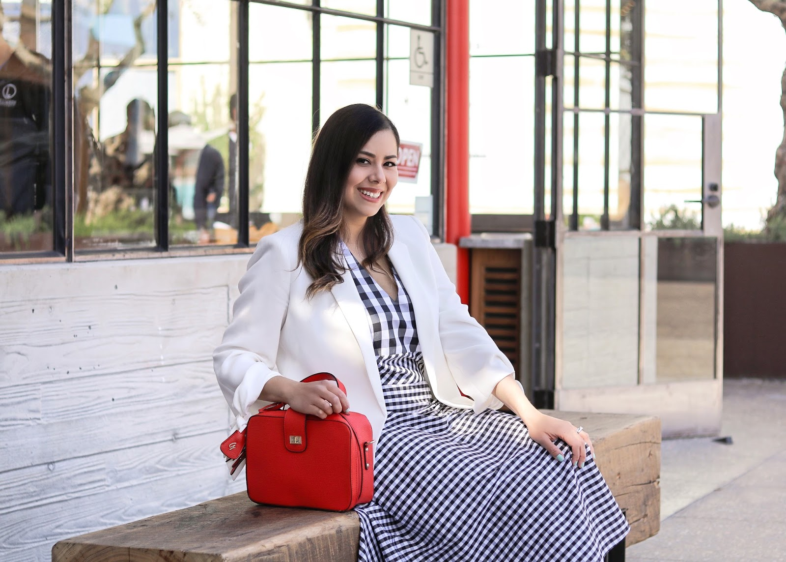 Black and white checkered dress, black and white dress with nude heels, pop of red purse