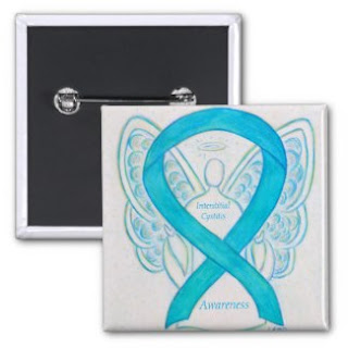 Interstitial Cystitis Turquoise Awareness Ribbon Angel Pin Buttons