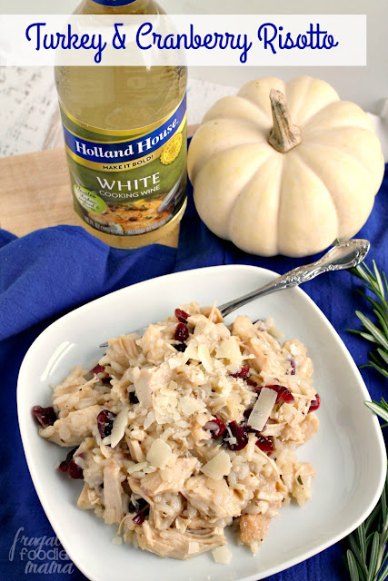 Creamy risotto comes together with fresh rosemary, leftover holiday turkey, sweet & tart cranberries, & flavorful cooking wine in this comforting Holiday Turkey & Cranberry Risotto.