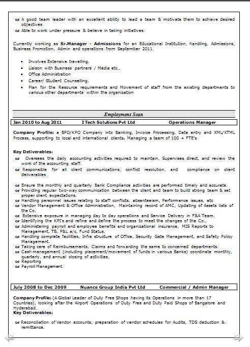 Dynamic Resume Resume Format For Accounts And Finance
