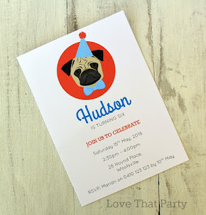 Pug Puppy Party Invitation