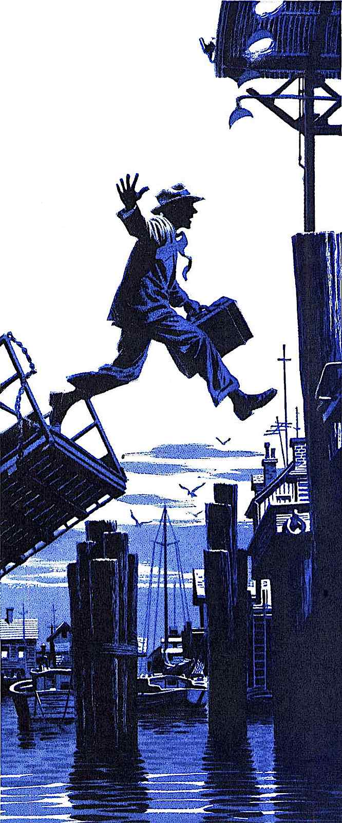 a James R. Bingham illustration of a man jumping from ship to dock