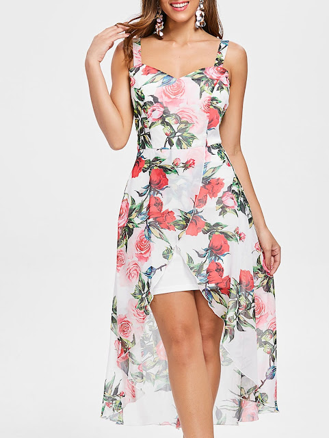Flower Print Sleeveless Asymmetrical Chiffon Dress