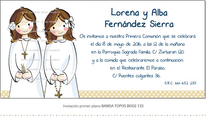 Invitacion comunion personalizada gemelas mellizos