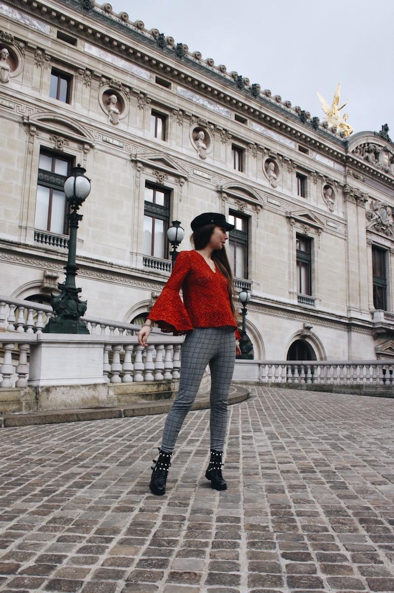 street style blog mode tendance prince de galle dentelle rouge gavroche opéra parisi