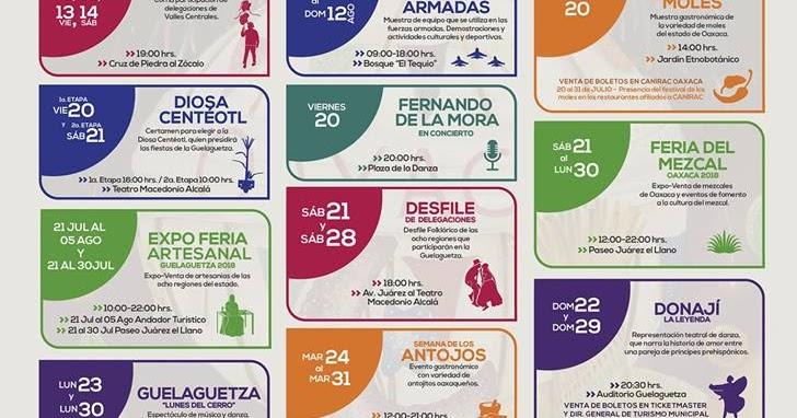 Calendario De Actividades Eventos: Guelaguetza 2018: Programa De Las Principales Actividades