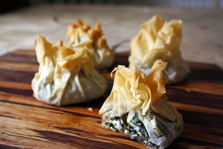 nettle, sorrel and feta filo parcels with toasted walnuts