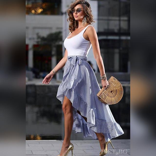 Ασύμμετρη άσπρη - μπλε φούστα KARELA