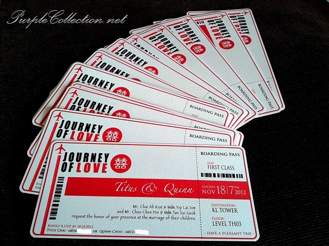 Quinn's Boarding Pass Wedding Card, Journey of love, Quinn's, Titus and Quinn, Titus Chai, Quinn Choo, Boarding Pass Wedding Card, Boarding Pass, Wedding Card, Boarding Pass Pocket, Invitation, Marriage, Love, Double Hapiness, Aeroplane, First Class
