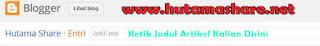 Kolom Judul Blogger Blogspot