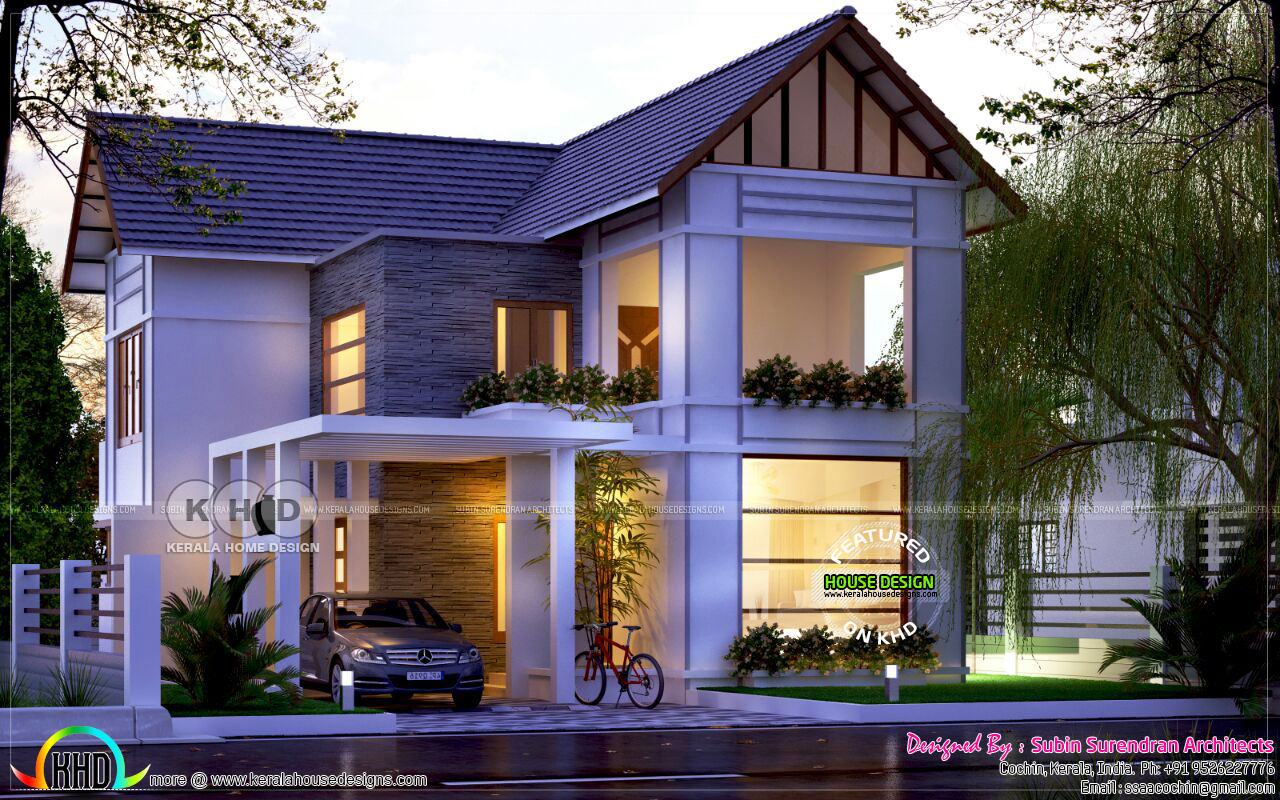 4 Bedroom Mixed Roof Home Part - 26: 3 Bedroom Mixed Roof Kerala Home Design