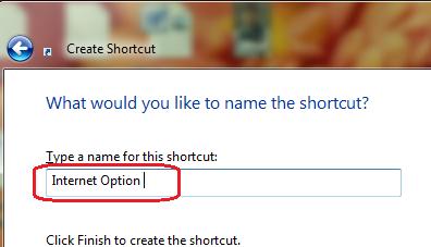 Create Shortcut to Internet Option