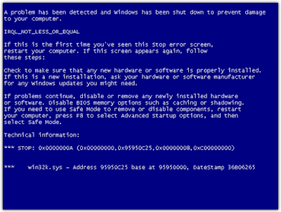 BSOD, or Blue Screen of Death, is a terminology for any critical system errors in the Windows operating system that causes a crash leading the system (computer) not to be able to recover and the user has to shut down and restart the system.