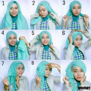 tutorial cara memakai model jilbab modern untuk acara pesta 4