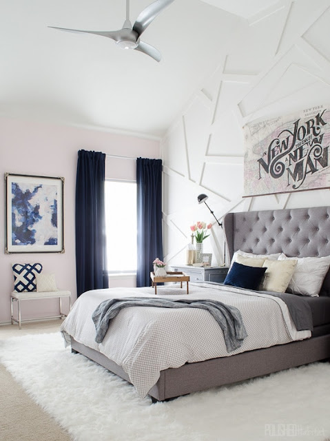 blush pink walls in bedroom