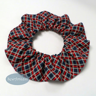 Love and Glory Plaid Patriotic Dog Scrunchie Ruffle