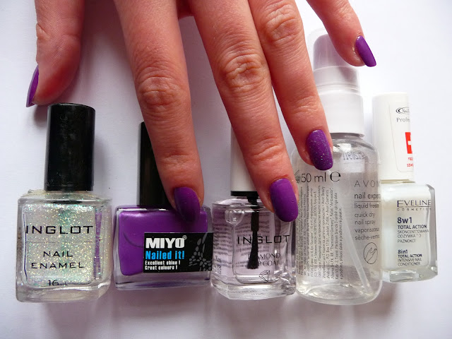 lakier do paznokci MIYO, MIYO lavender, No 22, Avon, INGLOT DIAMOND TOP COAT, Eveline