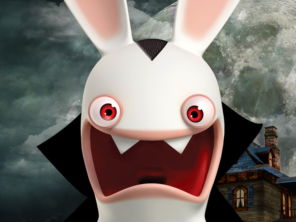 in the all new rabbids invasion halloween special the raving rabbids experiment with an instant growth tonic in vampire rabbid try their hand at - Raving Rabbids Halloween Costume