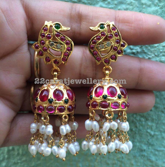 Silver Jhumkas with Rice Pearls