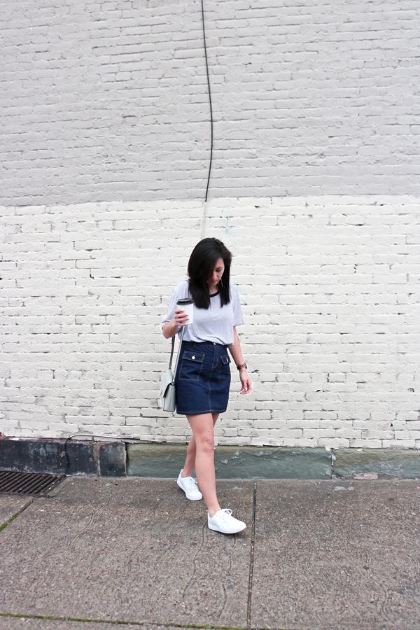 Denim skirt, striped top, white sneakers, casual outfit